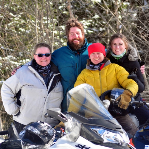 Haliburton Forest Snowmobiling family