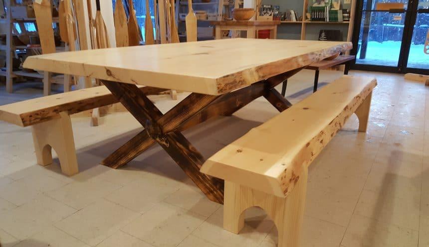 HFWoodshop - Custom Slab Tables w Bench